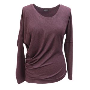 Pure-couture-créateur-prêt à porter-femme-Tee-shirt -Taka-prune-asymétrique